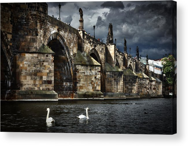 Prague Acrylic Print featuring the photograph Iconic Bridge In Prague by David Resnikoff
