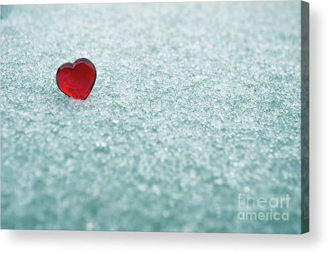 Red Acrylic Print featuring the photograph Icy Red Heart by Liz Masoner