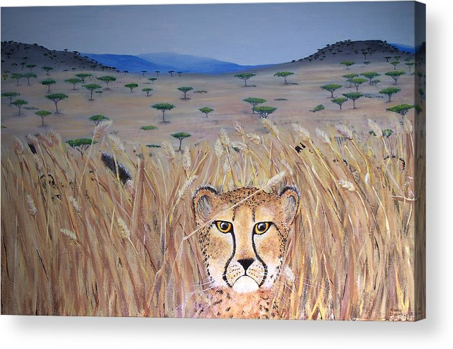 Cheetah Acrylic Print featuring the painting Illusion 01 by Tammy Dunn