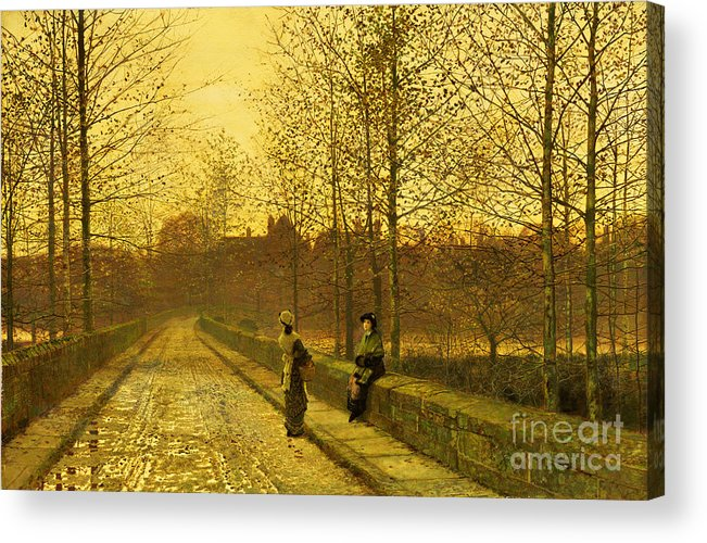 The Acrylic Print featuring the painting In The Golden Gloaming by John Atkinson Grimshaw