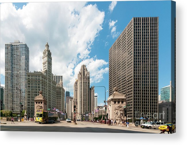 Chicago Acrylic Print featuring the photograph In The Middle Of Wacker And Michigan by David Levin