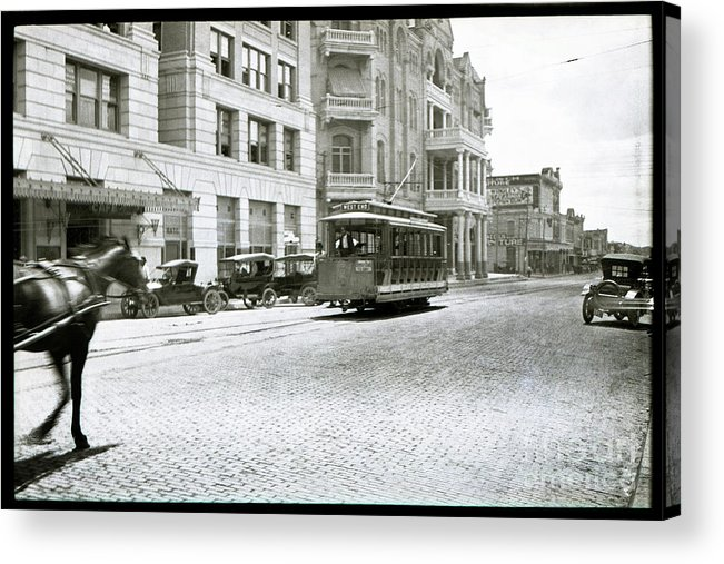 In This 1913 Photo Acrylic Print featuring the photograph In This 1913 Photo, A Cable Car Drives Past The Littlefield Building And Dristill Hotel On Sixth Str by Austin Welcome Center