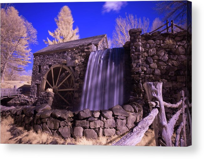 Wayside Inn Sudbury Grist Mill Water Waterwheel Wheel River Stream Sky Trees Grass Reflection Ma Mass Massachusetts New England Newengland U.s.a. Usa Brian Hale Brianhalephoto Nature Natural Outside Outdoors Clouds Long Exposure Waterfall Falls Stone Wall Architecture Building Infrared Ir Fence Wooden Infra Red Acrylic Print featuring the photograph Infrared Mill 1 by Brian Hale