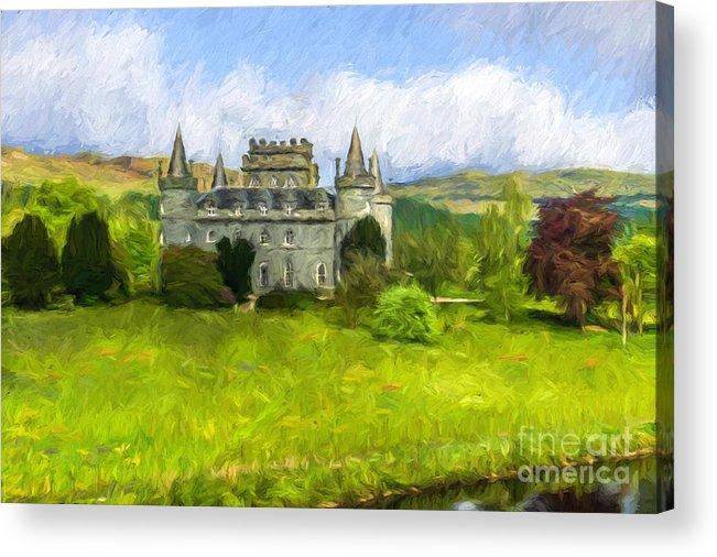 Inveraray Castle Acrylic Print featuring the digital art Inveraray Castle A600000993 by Kevin Funk