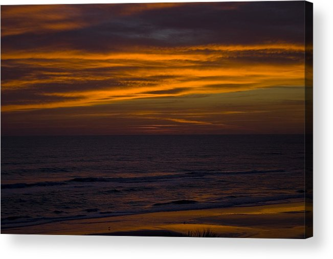 Beach Ocean Water Wave Waves Sky Cloud Clouds Sunrise Gold Golden Reflection Sand Acrylic Print featuring the photograph Invisible Presence by Andrei Shliakhau