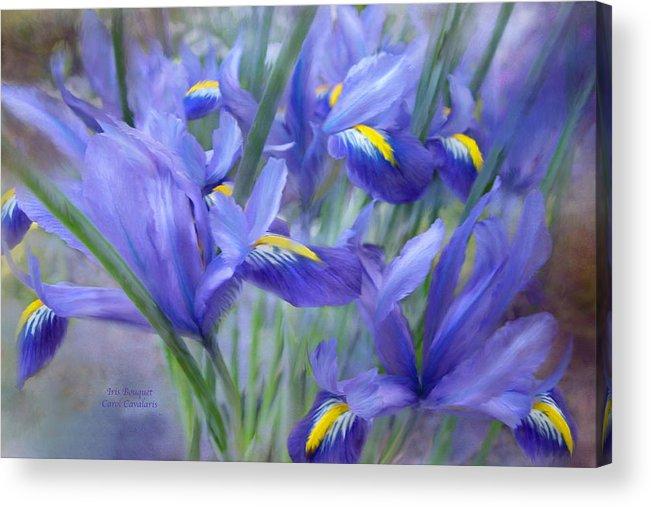 Iris Acrylic Print featuring the mixed media Iris Bouquet by Carol Cavalaris