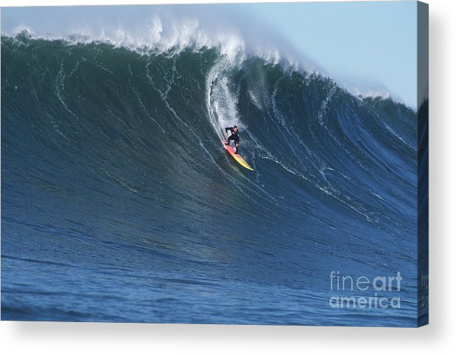 Mavericks Acrylic Print featuring the photograph Jay On A Huge Wall by Stan and Anne Foster