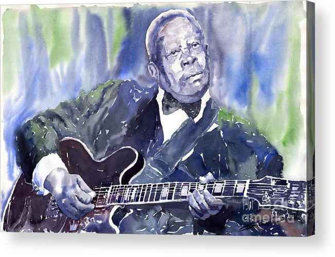 Jazz Bbking Music Watercolor Watercolour Guitarist Portret Acrylic Print featuring the painting Jazz B B King 01 by Yuriy Shevchuk