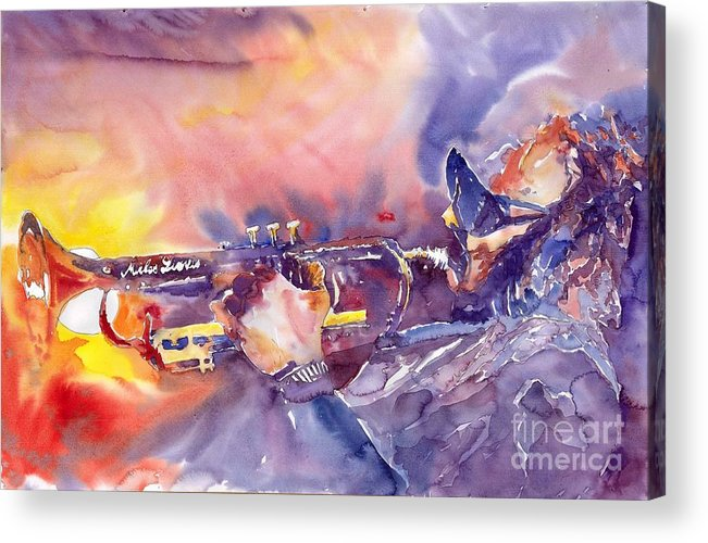 Jazz Watercolor Miles Davis Music Musician Trumpeter Figurative Watercolour Acrylic Print featuring the painting Jazz Miles Davis Electric 1 by Yuriy Shevchuk