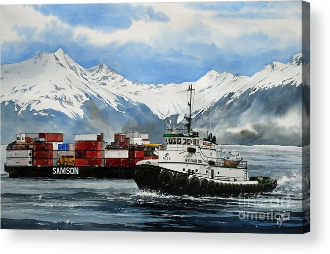 Tugs Acrylic Print featuring the painting Jeffrey Foss Samson Tow by James Williamson