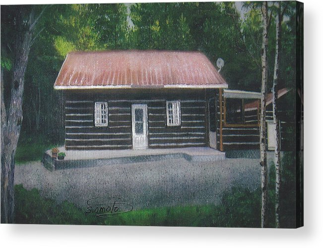 Cabin Acrylic Print featuring the painting Jims Cabin by Sachiko Omoto