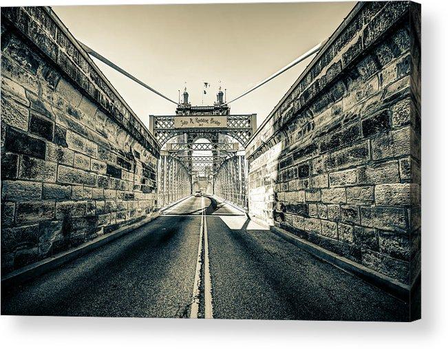 America Acrylic Print featuring the photograph John Roebling Bridge Entrance - Cincinnati Ohio Sepia Print by Gregory Ballos