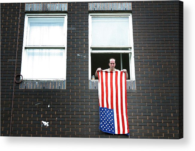 Jez C Self Acrylic Print featuring the photograph John Waves His Flag 3 by Jez C Self
