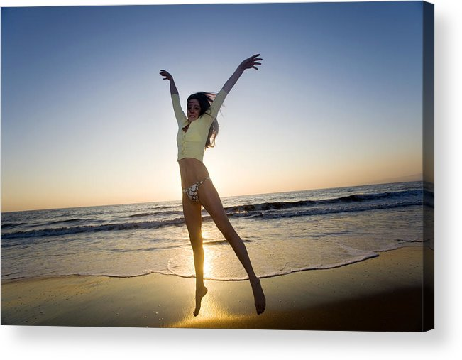 Ocean Acrylic Print featuring the photograph Jump - Beach by Brad Rickerby