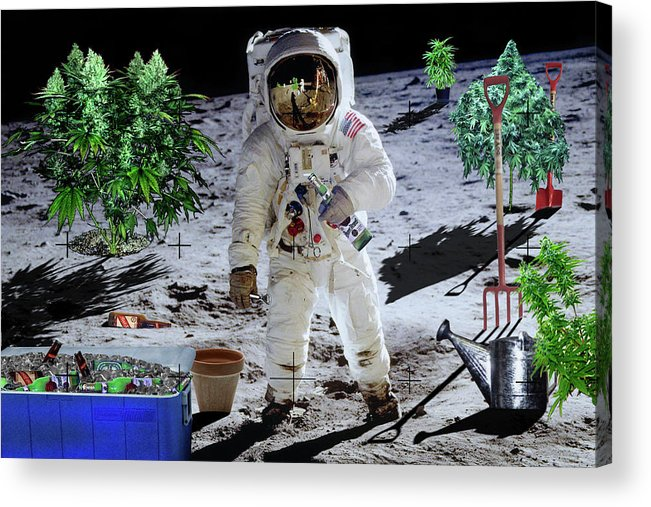 Moon Acrylic Print featuring the digital art Just Call Me Buzz by John Scariano