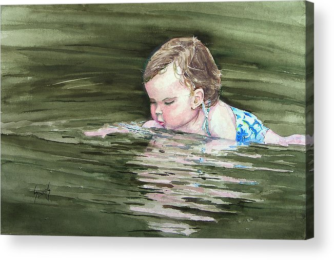 Child In River Acrylic Print featuring the painting Katie Wants A River Rock by Sam Sidders