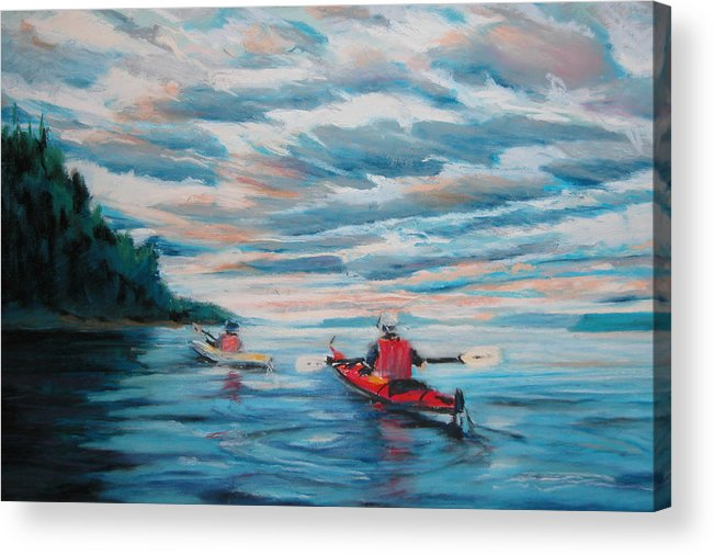 Water Acrylic Print featuring the painting Kayakers by Synnove Pettersen