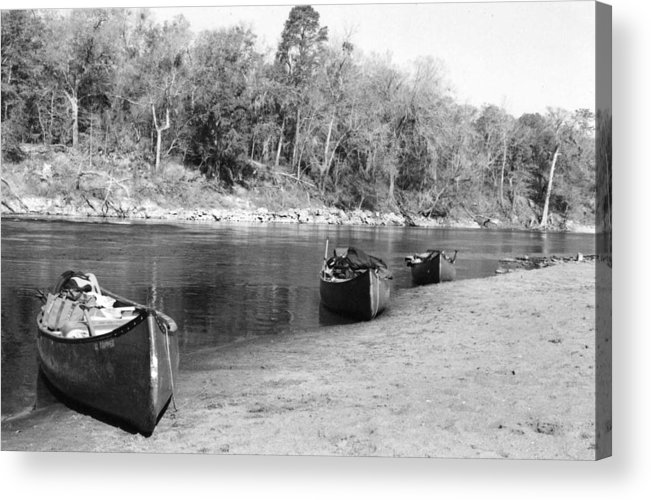 River Acrylic Print featuring the photograph Kerr Lake Canoes by Steven Crown