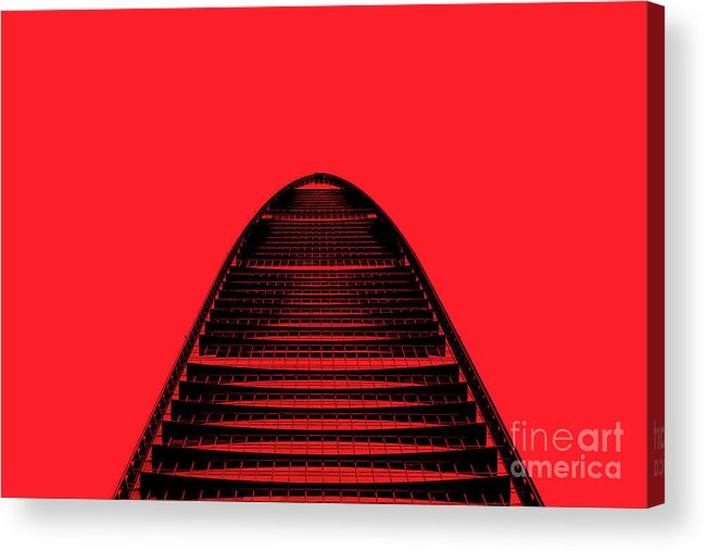 Shenzhen Acrylic Print featuring the photograph Kk100 Shenzhen Skyscraper Art Red by Marco Toscani
