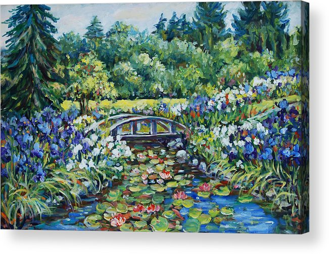Ingrid Dohm Acrylic Print featuring the painting Klehm's Lily Pond II by Ingrid Dohm