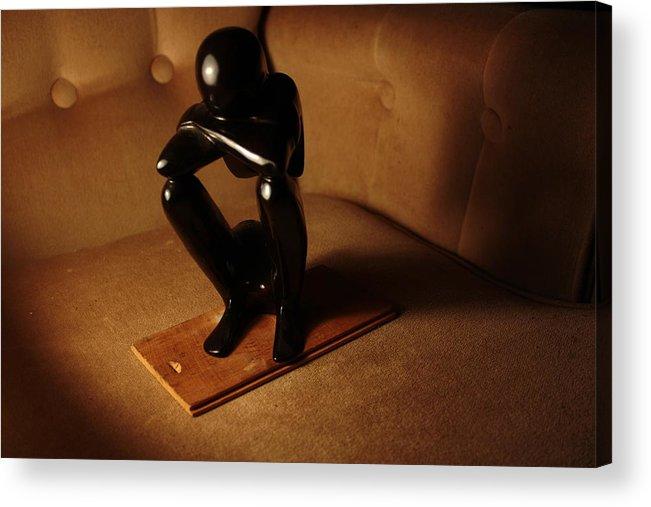 Black Acrylic Print featuring the photograph Kneeling Man by Hannah Van Patter