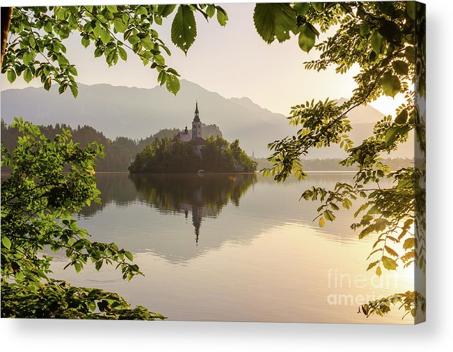 Architecture Acrylic Print featuring the photograph Lake Bled In The Morning by Travel and Destinations - By Mike Clegg
