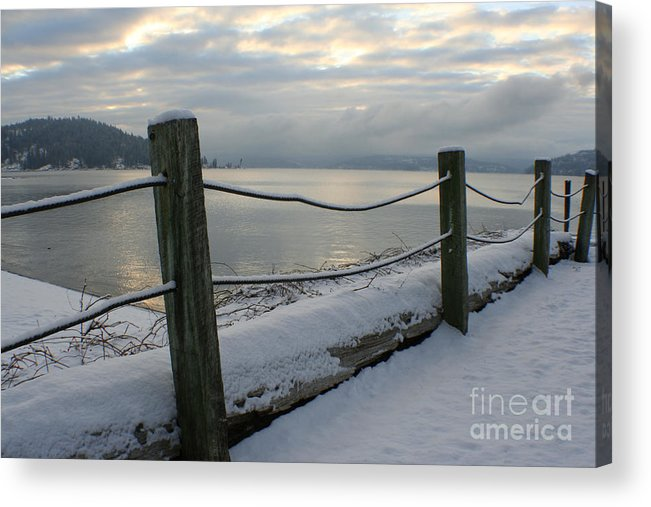 Fence Acrylic Print featuring the photograph Lake Snow by Idaho Scenic Images Linda Lantzy