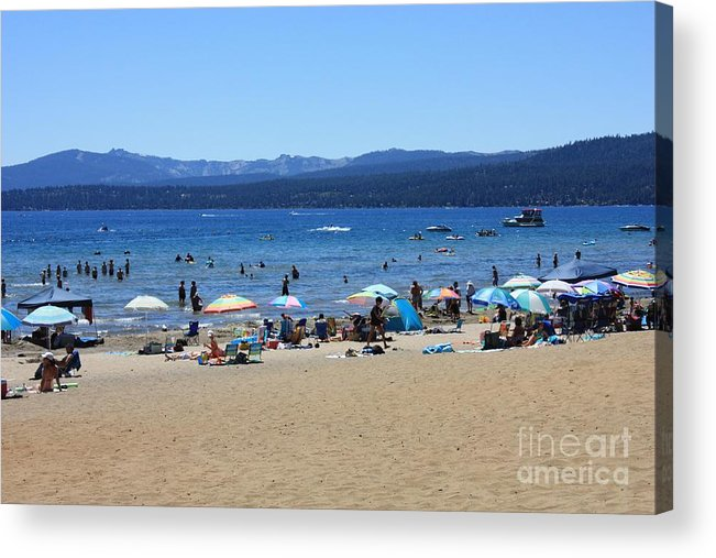 Lake Tahoe Acrylic Print featuring the photograph Lake Tahoe Beach Scene by Carol Groenen