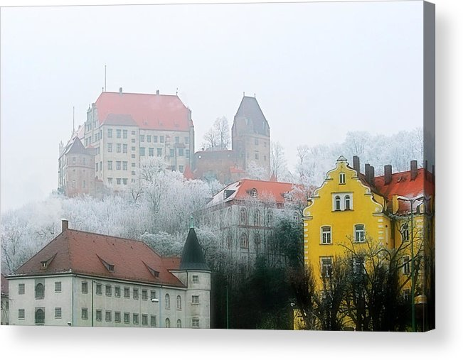 City Acrylic Print featuring the photograph Landshut Bavaria On A Foggy Day by Christine Till