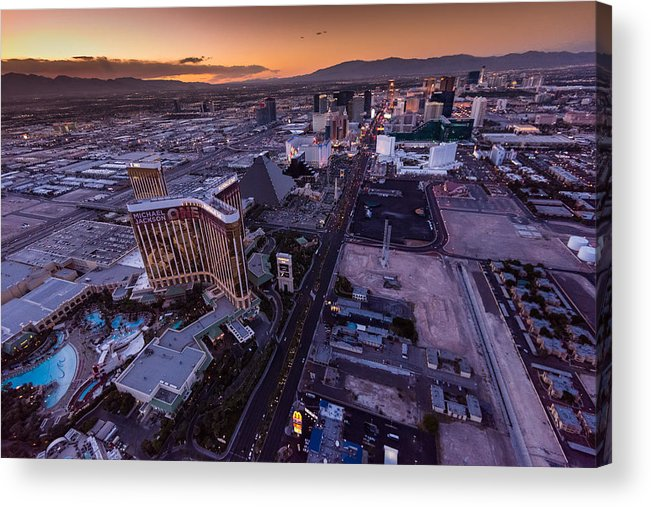Las Vegas Acrylic Print featuring the photograph Las Vegas Strip Aloft by Steve Gadomski