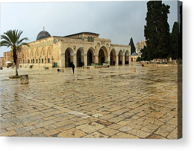 Al Aqsa Court Acrylic Print featuring the photograph Late For Prayer by Munir Alawi