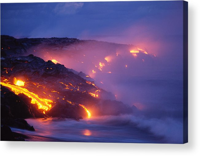 A'a Acrylic Print featuring the photograph Lava At Twilight by Peter French - Printscapes