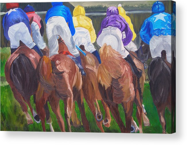 Horse Racing Acrylic Print featuring the painting Leading The Pack by Michael Lee