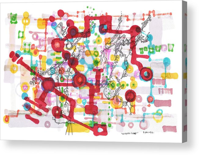 Learning Acrylic Print featuring the drawing Learning Circuit by Regina Valluzzi