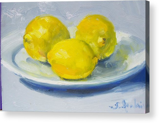 Still Life Acrylic Print featuring the painting Lemons On A White Plate by Susan Jenkins