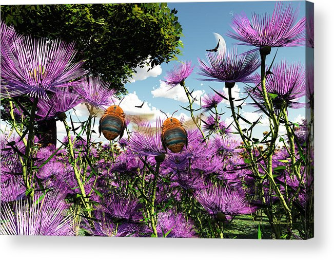 Bloom Acrylic Print featuring the digital art Two Bumblebees Discover The World by Max Steinwald
