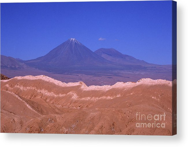 Chile Acrylic Print featuring the photograph Licancabur Volcano Seen From The Atacama Desert Chile by James Brunker