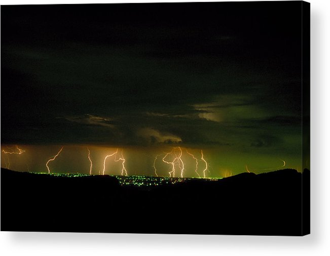 Weather Acrylic Print featuring the photograph Lightning Over Denver by Jerry McElroy