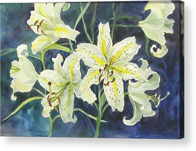 Floral;lilies; Acrylic Print featuring the painting Lilies So White by Lois Mountz