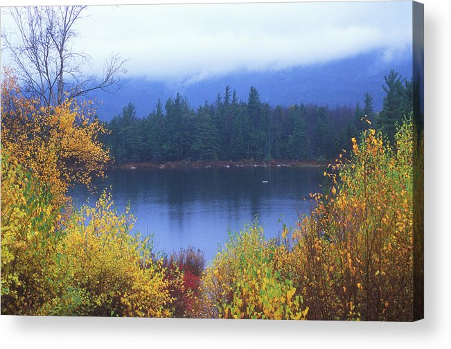 New Hampshire Acrylic Print featuring the photograph Lily Pond Autumn Kancamagus Highway by John Burk