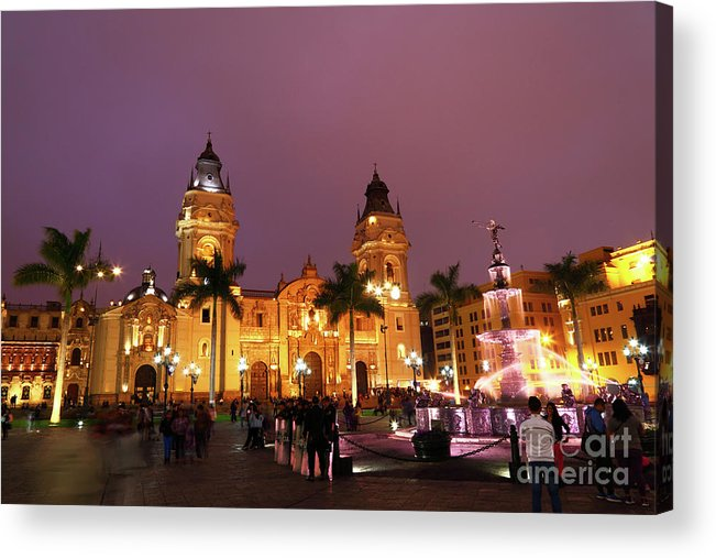 Lima Acrylic Print featuring the photograph Lima Cathedral And Plaza De Armas At Night by James Brunker