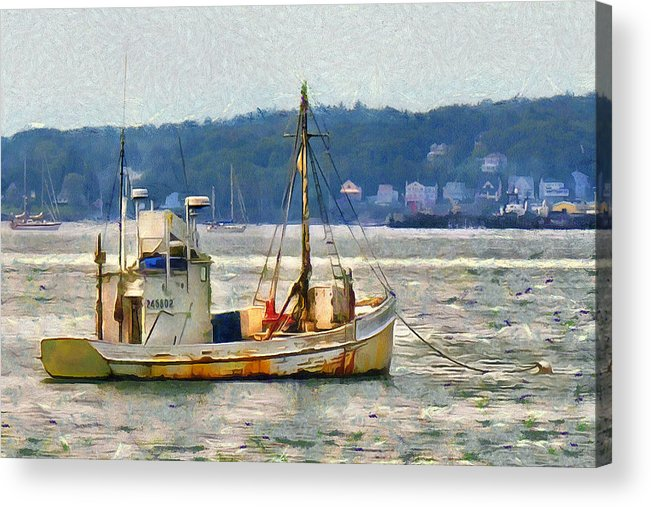 Maine Acrylic Print featuring the photograph Lobster Boat by Judy Coggin