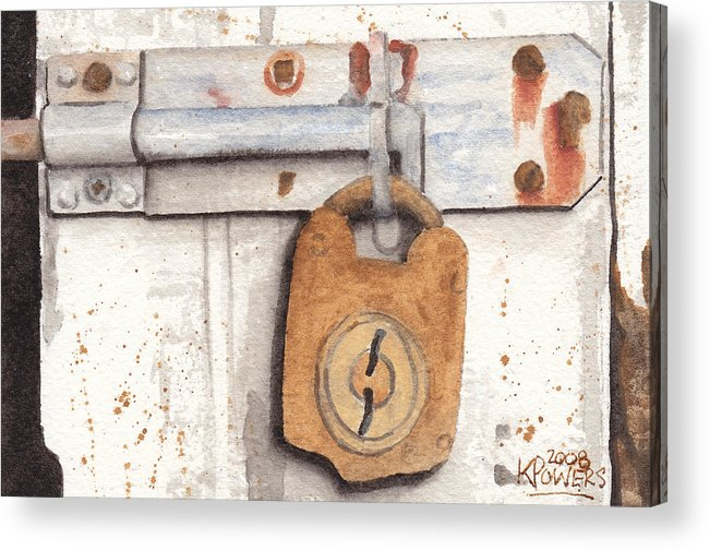 Rust Acrylic Print featuring the painting Lock And Latch by Ken Powers