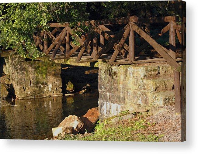 Log Bridge Acrylic Print featuring the photograph Log Bridge by Darlene Bell