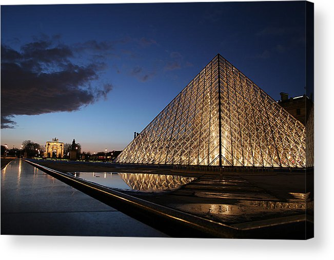 Paris Acrylic Print featuring the photograph Louvre Puddle Reflection by Joshua Francia