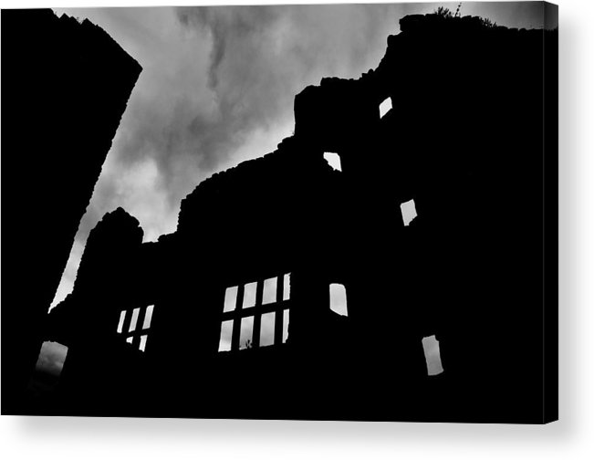 Castle Acrylic Print featuring the photograph Ludlow Storm Threatening Skies Over The Ruins Of A Castle Spooky Halloween by Andy Smy