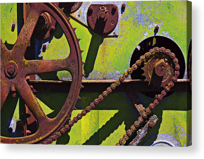 Machinery Acrylic Print featuring the photograph Machinery Gears by Garry Gay