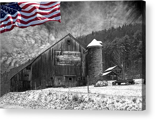 Black And White Acrylic Print featuring the photograph Made In America Red White And Blue by John Stephens