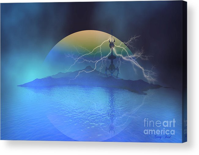 Space Art Acrylic Print featuring the painting Magnetic Flux by Corey Ford