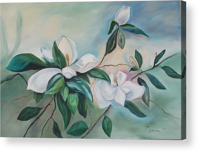 Flowers Acrylic Print featuring the painting Magnolia Summer by Margaret Fortunato